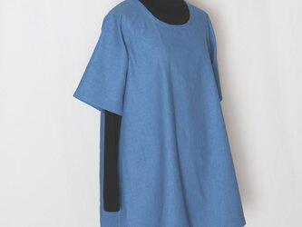 【M】Aラインチュニックハーフリネン(ブルー) 半袖_C18の画像