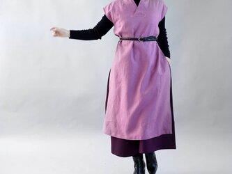 【wafu】中厚 リネン ワンピース 着物襟 フレンチスリーブ サイドスリット リラックス/ブーガンヴィレ a084c-bvl2の画像