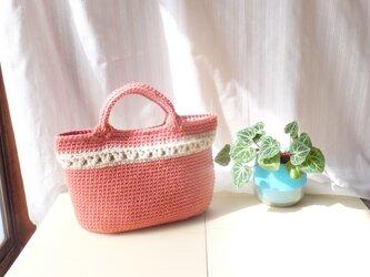 毛糸のバッグ*カメリアローズ☆ミルクティーの画像