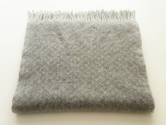 手織りのカシミヤストール/ S /ライトグレーの画像