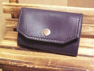 本革カードと小銭入れ 紺色 財布の画像