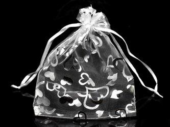 10枚入り オーガンジー巾着袋 ハート 【シルバー 銀色 ホワイト 白色】 アクセサリーバック ラッピング プレゼントの画像