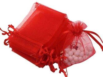 10枚入り オーガンジー巾着袋 【レッド 赤色】 アクセサリーバック ラッピング 無地 シンプル ギフトの画像