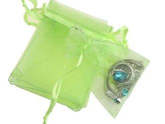 10枚入り オーガンジー巾着袋 【グリーン 緑色】 アクセサリーバック ラッピング 無地 シンプル ギフトの画像