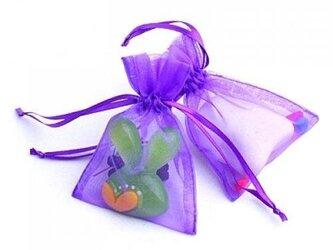 10枚入り オーガンジー巾着袋 【バイオレット 紫色】 アクセサリーバック ラッピング 無地 シンプル ギフトの画像