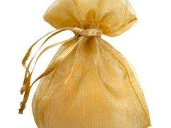 10枚入り オーガンジー巾着袋 【ゴールド 金色】 アクセサリーバック ラッピング 無地 シンプル ギフトの画像