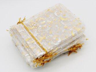 10枚入り オーガンジー巾着袋 星 月 【ホワイト 白色】 アクセサリーバック ラッピング スター ムーン ギフトの画像