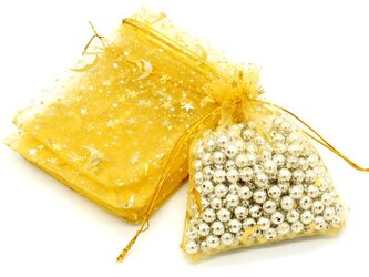 20枚入り オーガンジー巾着袋 星 月 【イエロー 黄色】 アクセサリーバック ラッピング スター ムーン ギフトの画像