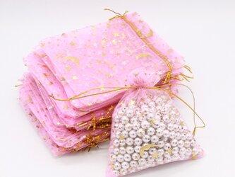 20枚入り オーガンジー巾着袋 星 月 【ピンク 桃色】 アクセサリーバック ラッピング スター ムーン ギフトの画像