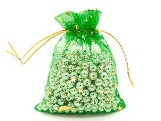 10枚入り オーガンジー巾着袋 星 月 【グリーン 緑色】 アクセサリーバック ラッピング スター ムーン ギフトの画像