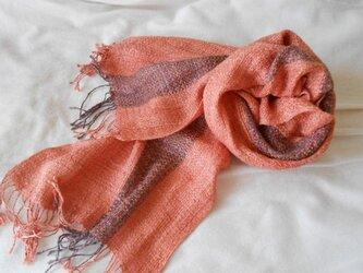 草木染(ブンゴウメ)ピンク 手紡ぎ手織り シルク100%マフラーの画像
