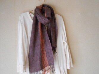 草木染(ブンゴウメ)紫 手紡ぎ手織り シルク100%マフラーの画像