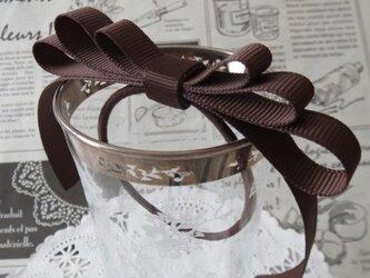 ★りぼん★ チョコレート色のミルフィーユリボンのヘアゴムの画像
