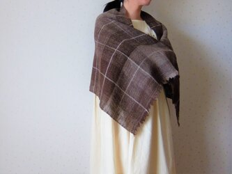 手紡ぎ・手織り ナチュラルブラウンのチェック柄ストールの画像