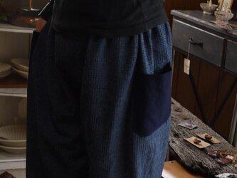 藍染遠州木綿と久留米絣のパンツの画像