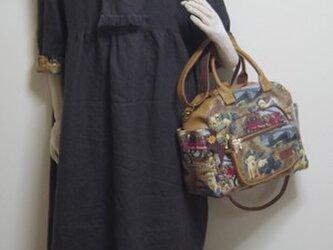 オリジナルワンピース13号フリー国産リネン100%コーヒー色少しハイウェスト110㎝丈袖折り返しにUSAコットン byフォーリアの画像