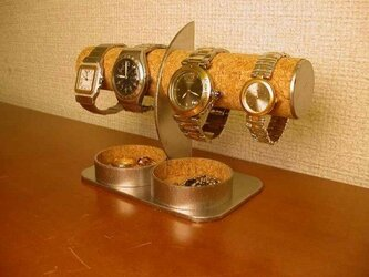 プレゼントに 腕時計4本掛け丸トレイ付きハーフムーン腕時計スタンド AKデザインの画像