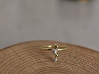 """真鍮と銀の指輪 """"さん粒、よん粒""""の画像"""