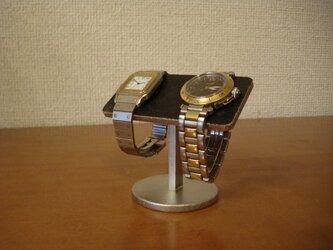 腕時計 収納 2本掛けバー腕時計スタンド ブラックの画像