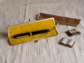 真鍮使いの口金ペンケース(1本用)/キャメル×イエローの画像