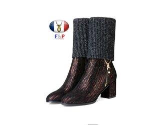 2WAYオーバルトゥ細紋柄ラムレザーコンビストレッチニットミドルブーツ全2色の画像