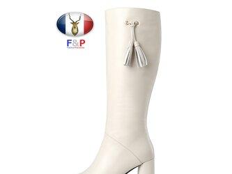 オーバルトゥハラコレザーサイドフリンジロングブーツニーハイブーツ長靴筒丈36cm全2色の画像