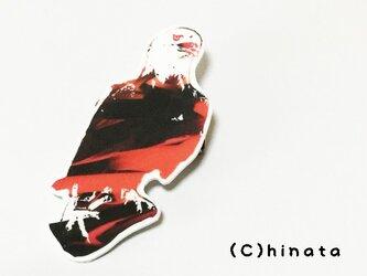 ARTな!鷲のイラストブローチ(赤)の画像