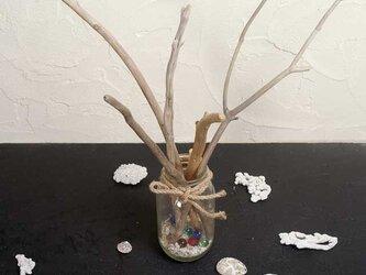 流木の小枝と漂着ビンのオーナメント-3の画像