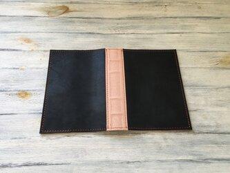 洋古書風のブック・ブックカバー/ブラック×アッシュピンクの画像