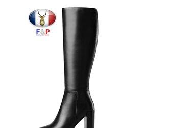 ポインテッドトゥハラコレザープレーンロングブーツニーハイブーツ長靴筒丈37cm全2色の画像