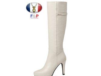 ポインテッドトゥハラコレザーアウトソール2cmロングブーツニーハイブーツ厚底長靴筒丈37cm全2色の画像