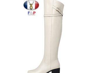ラウンドトゥハラコレザーベルテッドロングブーツ美脚ニーハイブーツ長靴筒丈44cm全2色の画像
