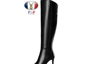 ポインテッドトゥハラコレザーアウトソール2cm厚底ロングブーツニーハイブーツ長靴筒丈43cm全2色の画像