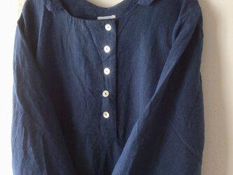 〔受注制作〕襟付きボタンワンピース / 青紺(ベルギーリネン)の画像
