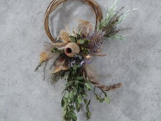 dried wreath mini greenの画像