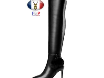 ポインテッドトゥハラコレザーサイドミンクファーポンポン付きロングブーツニーハイブーツ美脚長靴筒丈55cm全2色の画像
