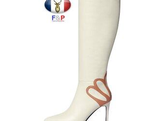 ポインテッドトゥハラコレザーバック王冠デザインロングブーツニーハイブーツ長靴筒丈35cm全2色の画像