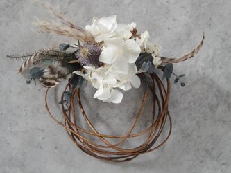 dried wreath mini whiteの画像