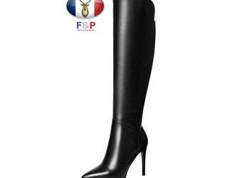 ポインテッドトゥハラコレザーアウトソール1cmロングブーツニーハイブーツ冬用長靴筒丈38cm全2色の画像