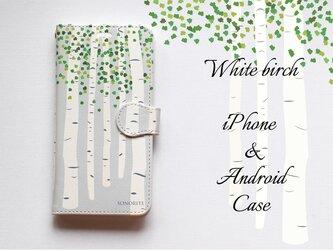 白樺 しらかば iPhone/Android ケース【受注制作】手帳型 アイフォンケース スマホケースの画像