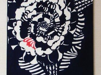花・パネル(黒赤)の画像