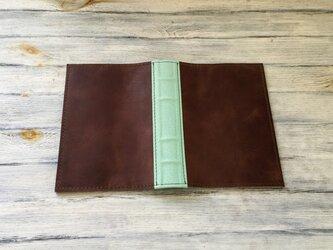洋古書風のブック・ブックカバー/ブラウン×リーフグリーンの画像