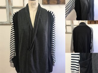 男女兼用❤️ボーダー袖バイカラーカーディガン(黒グレー)メンズ L、レディース L Lの画像