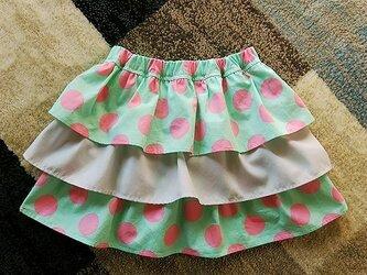 水玉のフリルギャザースカート(送料無料)の画像