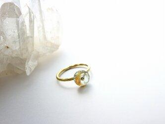 再販**3月誕生石*Brass Point Ring*モスアクアマリン*真鍮リング*no.357の画像