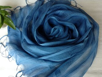 【藍染め】コットン&シルクすかしストライプ柄ストール 花浅葱色の画像
