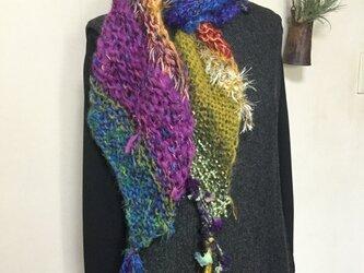 手編みマフラー 〔虹〕の画像