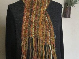 手編みマフラー・ミニ 〔からし〕の画像