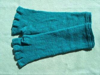 エメラルドグリーン一色のロング指なし手袋の画像