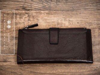 【受注製作】丸ごとなめらか牛革レザー長財布 カードケース 収納豊富 チャック付 茶褐色3KR-6の画像